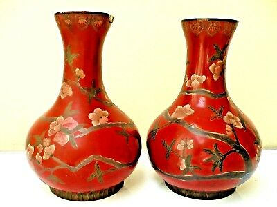Antique Asian Chinese Or Japanese 2 Papermashe Cinnabar Vases H/painted Flower