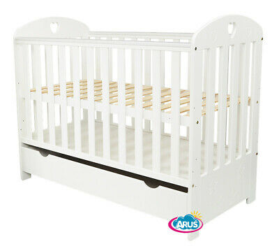 """Baby Cot With Drawer/Junior Bed """"Sisi"""" White + Mattress To Choose"""