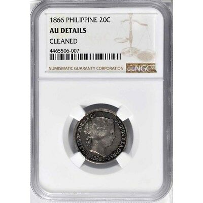 1866 Philippines 20 Centimos, NGC AU Details - Cleaned, Scarce Date