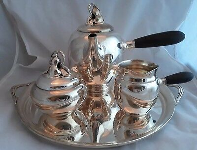 Modernist Sterling Silver Gorham Hibiscus Tea Set On Handled Tray 39 Ozt #791