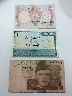Pakistan 3 different PCS lot 1 , 5  Rupee - discount combine shipping