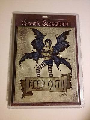 "Ceramic Sensations ""KEEP OUT"" Amy Brown Fantasy Fairy Wall Tile Art 8x10 NEW"