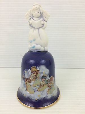 Avon Blue White 1992 Christmas Angel Porcelain Collectibles Hand Bell