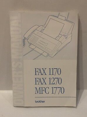 BROTHER 1270 1170 1770 Fax Machine OWNER'S MANUAL Booklet Instructions
