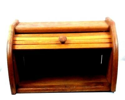 Vintage Blonde Bamboo Smooth Roll Top Wooden Kitchen Wood Bread Box Pecan