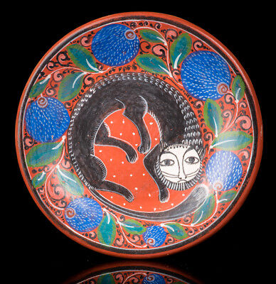 MINIATURE DISH with nagual by master Salvador Vasquez Tonala burnished clay