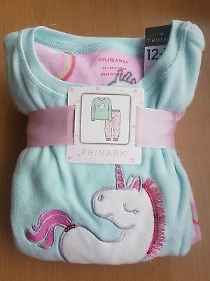 Primark girls Unicorn kids childrens warm fleece pyjamas set unicorn 7-15 years