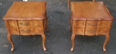 Antique French Double Drawer End Tables Real Wood Pair Of Two !!