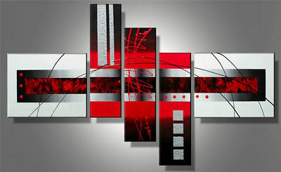 Large Framed Modern Red And Black And White Abstract Oil Painting Art on Canvas