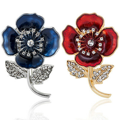 Women Poppy Badge Enamel Broach Crystal Brooches Badges Brooch Flower Pins UK