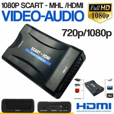 1080P HDMI to SCART Composite Stereo Audio Video Adapter Converter For HDTV DVD