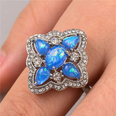 Gorgeous 925 Silver Jewelry Women's Wedding Rings Blue Opal Ring Size6-10