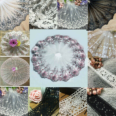 20 Style Vintage Embroidered Lace Edge Trim Ribbon Applique Wedding Sewing Craft
