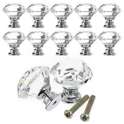 Crystal Glass Cabinet Knob Diamond Shape Drawer Cupboard Handle Pull 30mm