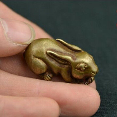China's archaize old antique pure brass rabbit small statue pendent