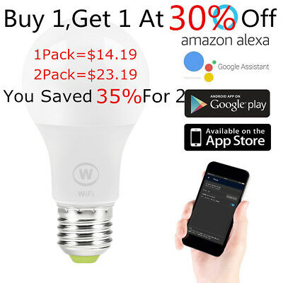 1/2Pack E27 Wifi Smart LED Warm Color Light Bulb for Alexa Google Home Remote US