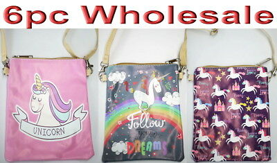 6pc Wholesale Girl Unicorn PU Leather Long Crossbody Bag Messenger Handbag Mixed