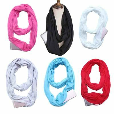 Scarf Unisex Infinity Cotton Scarves With Zip Pocket Gift Travel Solid Color New