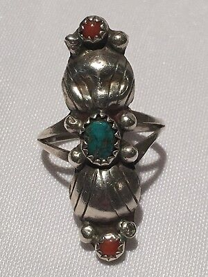 Antique Vintage .925 Sterling Silver Native Navajo Turquoise Coral Ring Sz 6