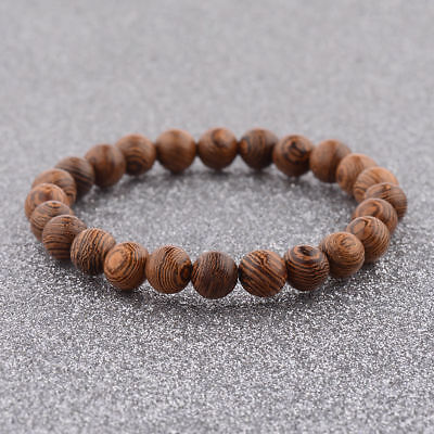 Fashion 8MM Multilayer Wooden Beaded Charm Men Women Elastic Bracelets Jewelry