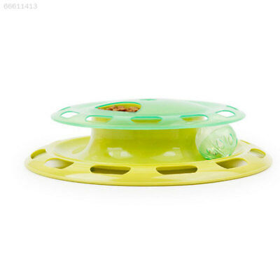 86C3 Cat Kitten Food Treat Dispenser Feeder Turntable Teaser Activity Play Toy