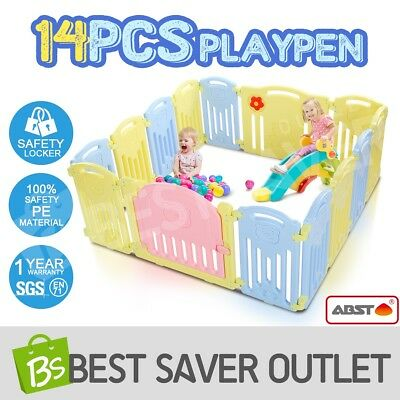 14 Panel Kids Interactive Baby Playpen Toddler Safety Gate Lock Divider Room