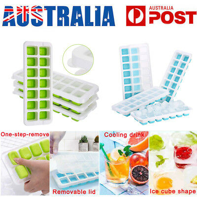 4PCS Ice Cube Trays Flexible 14-Ice Trays Mould DIY Whisky Jelly Maker with Lid