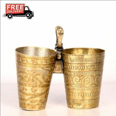 2 Pc 1940's Old Brass Unique Plated Engraved Twin Milk / Lassi Glass 7435