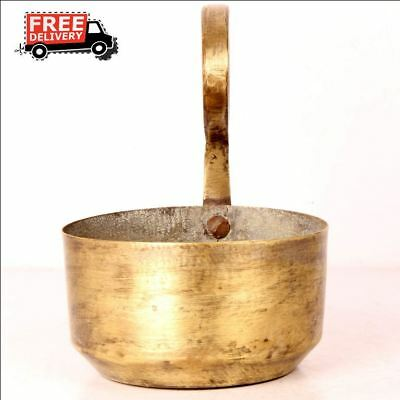 Vintage Old Handmade Soup Dinner Serving Bowl Pot With Handle Rich Patina 7609