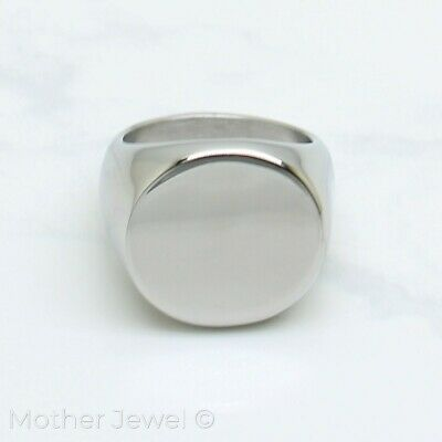 Plain Round Circle Heavy Signet Mens Womens Silver Stainless Steel Ring
