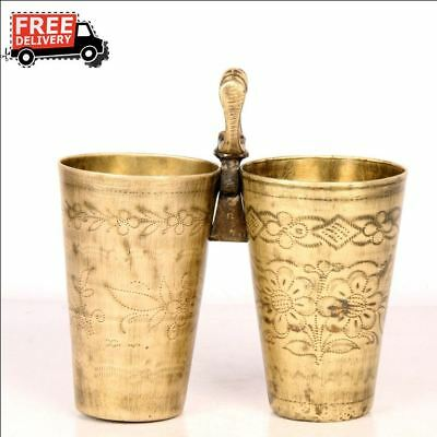 2 Pc 1940's Old Brass Unique Plated Engraved Twin Milk / Lassi Glass 7431