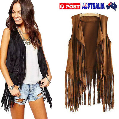 Women Autumn Winter Faux Suede Ethnic Sleeveless Tassels Fringed Vest Cardigan