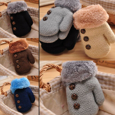Cute Thicken Soft Warm Baby Kids Toddler Double layer Winter Gloves Mittens Gift
