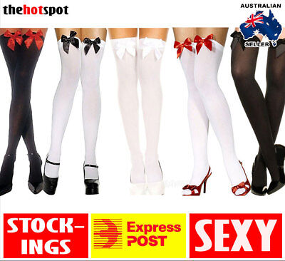 Ladies White Black Thigh High Costume Stockings Bows Womens Tights Sheer Sexy
