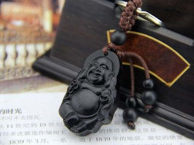 Ebony Wood Carving Chinese Happy Maitreya Buddha Feng Shui Statue Key Chain Ring