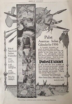 1905 Ad(H20)~Pabst Extract Dept. Milw., Wis. American Indian Calendar Ad For '06