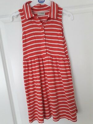 Next Girls Red Dress With White Stripes Aged 4 - 5