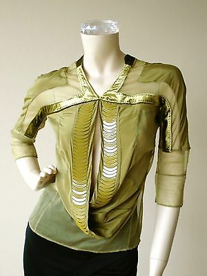 Gucci Olive Green Chiffon Velvet Sheer Blouse 3/4 Crop Sleeve Top New Nwt 38 Us4