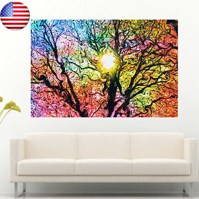 US Cloth Psychedelic Trippy Tree Abstract Sun Silk Poster Home Art Decor 20x13''