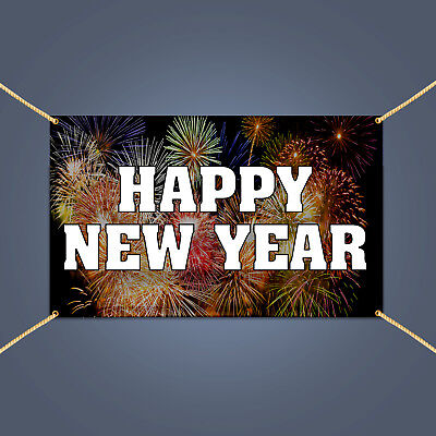 happy new year holiday night eve party outdoor decor hanging vinyl banner sign