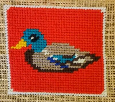 Modern Mini Tapestry: Unique Handmade 'Duck (Red)' Sampler