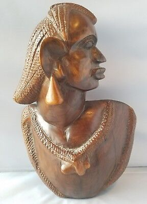 Vintage Solid Wood Hand Carved African Art Head Statue Sculpture Figure Bust 13""
