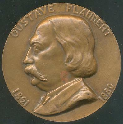 FRANCE FRENCH ARTISTIC BRONZE MEDAL to GUSTAVE FLAUBERT Sign by LAMOURDEDIEU
