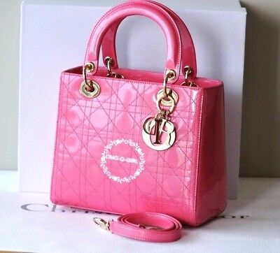 7ec2497479b4 Christian Dior Lady Dior Handbag Bag Hot Pink Patent Leather New Medium  Size New
