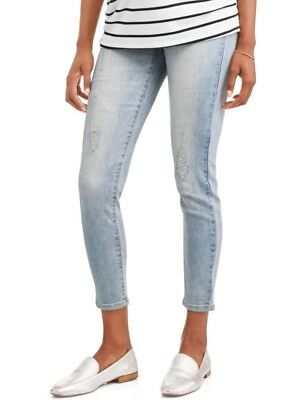 Liz Lange Maternity Med Wash Ripped Skinny Distressed Jeans Full Panel Size 6