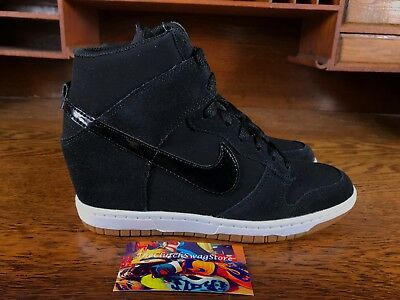 half off 279d8 11cce Nike Dunk Sky Hi Essential Wedge Heel Womens Shoe Black Gum 644877 011 ALL  SZS