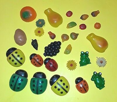 Vintage 29 Refrigerator Magnets Lady Bugs Frog Fruit Flowers lot