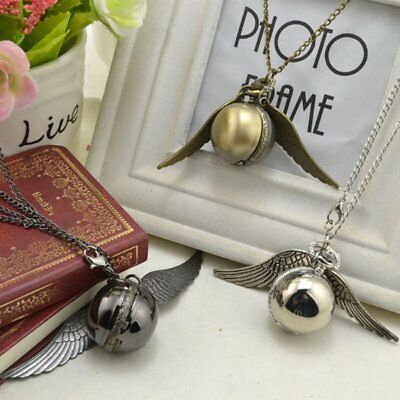Elegant Snitch Quartz Fob Pocket Watch Pendant Necklace Chain for Men Women RA