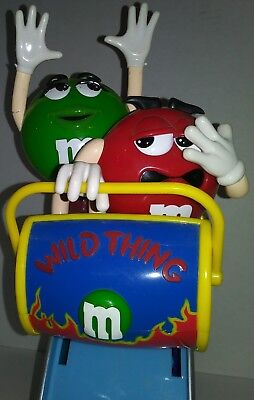 M&M Candy Dispenser Collectible Memorabilia Roller Coaster Ride Green Red