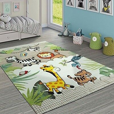 Nursery Rug Children's Baby Kids Bedroom Animals Jungle Carpet Soft Beige Mats
